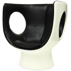 Rare 1970s Op Art Leather & Fiberglass Kontor Chair Space Age Design