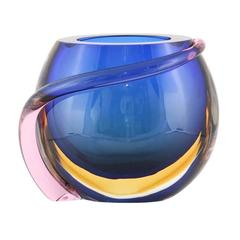 Formia Multicolored Murano Glass 'Sommerso' Vase