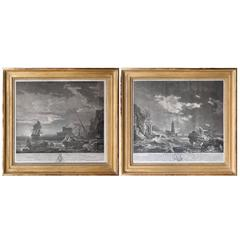 Pair of 18th Century Engravings from the Series 'the Tempest' by Joseph Vernet
