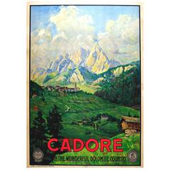 """Original 1920s ENIT Travel Advertising Poster """"Cadore - Dolomite Country,"""" Italy"""