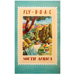 Original Vintage BOAC Travel Advertising Poster, Fly By B.O.A.C, South Africa