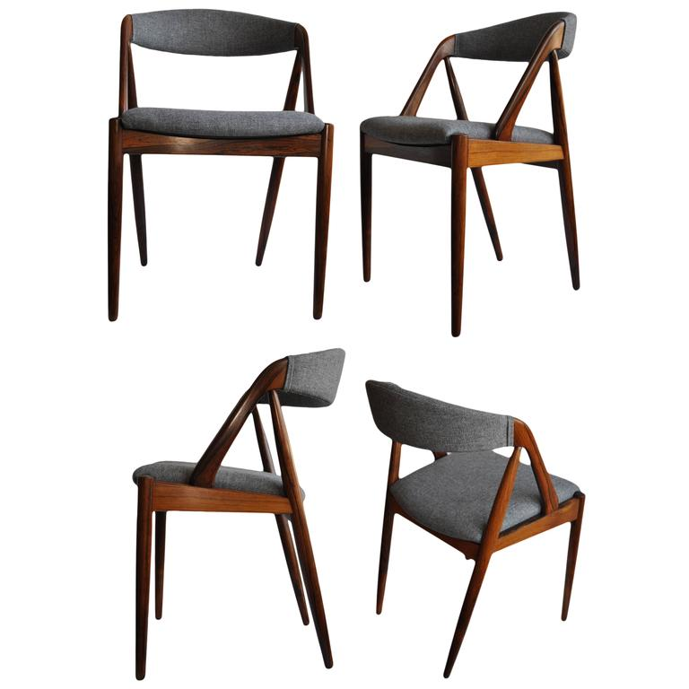 Set of Four Rosewood Kai Kristiansen Dining Chairs For Sale