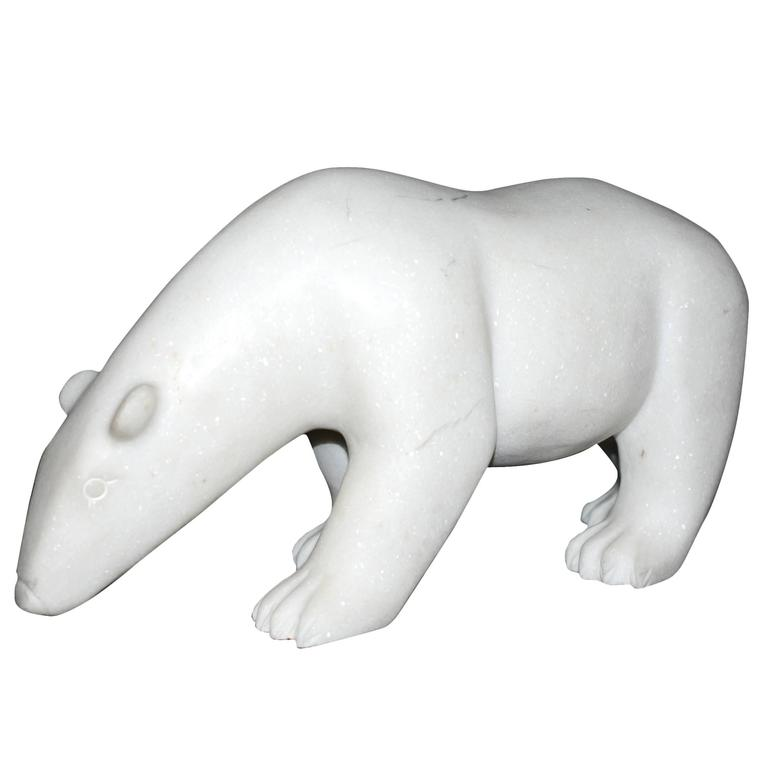 Sculpture White Bear in Marble Limited Edition by J.B Vandame, 2015 For Sale