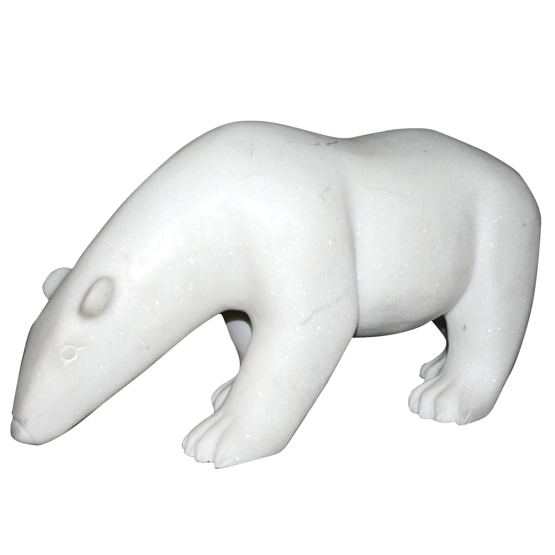 Sculpture White Bear in Marble Limited Edition by J.B Vandame, 2015
