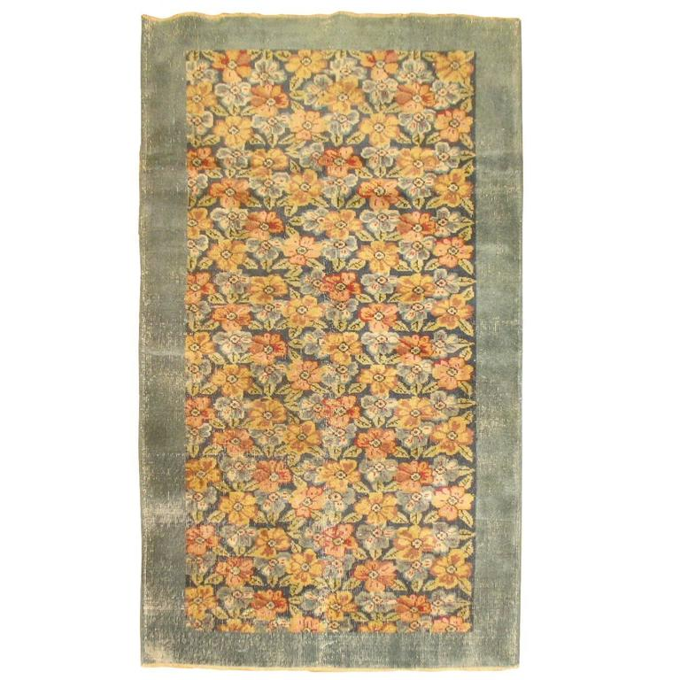 Shabby Chic Turkish Floral Rug For Sale