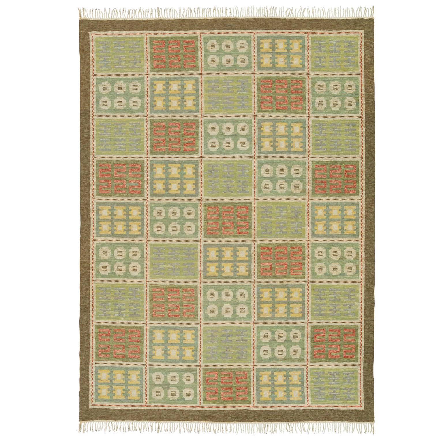 20th Century Swedish Flat-Weave Carpet by Edna Martin, Svensk Hemslöjd