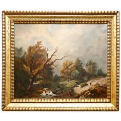 Continental School Oil on Canvas Depicting Travelers in a Landscape, circa 1860