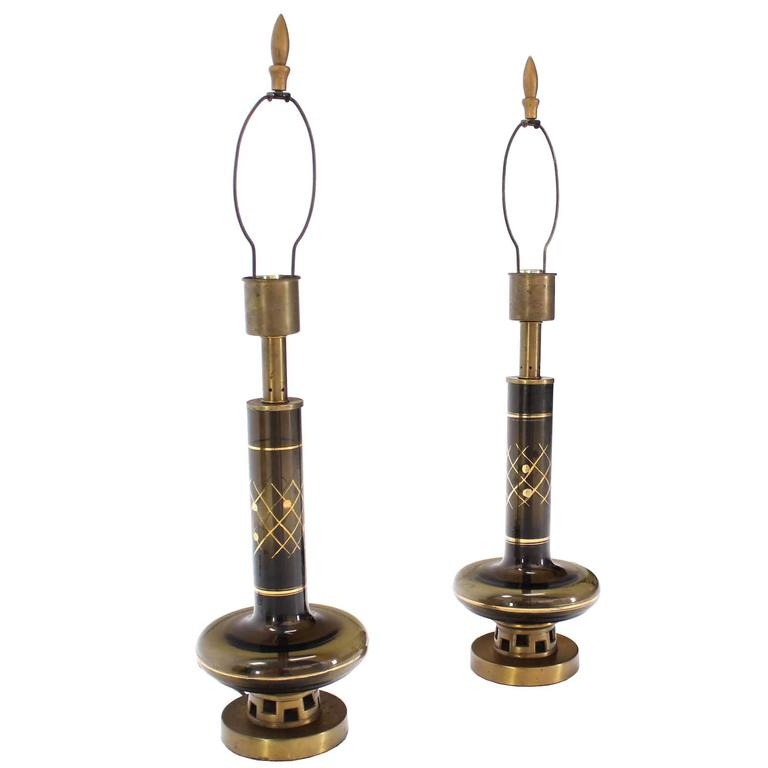 Pair of Gold Decorated Smoked Glass Turned Shape Table Lamps