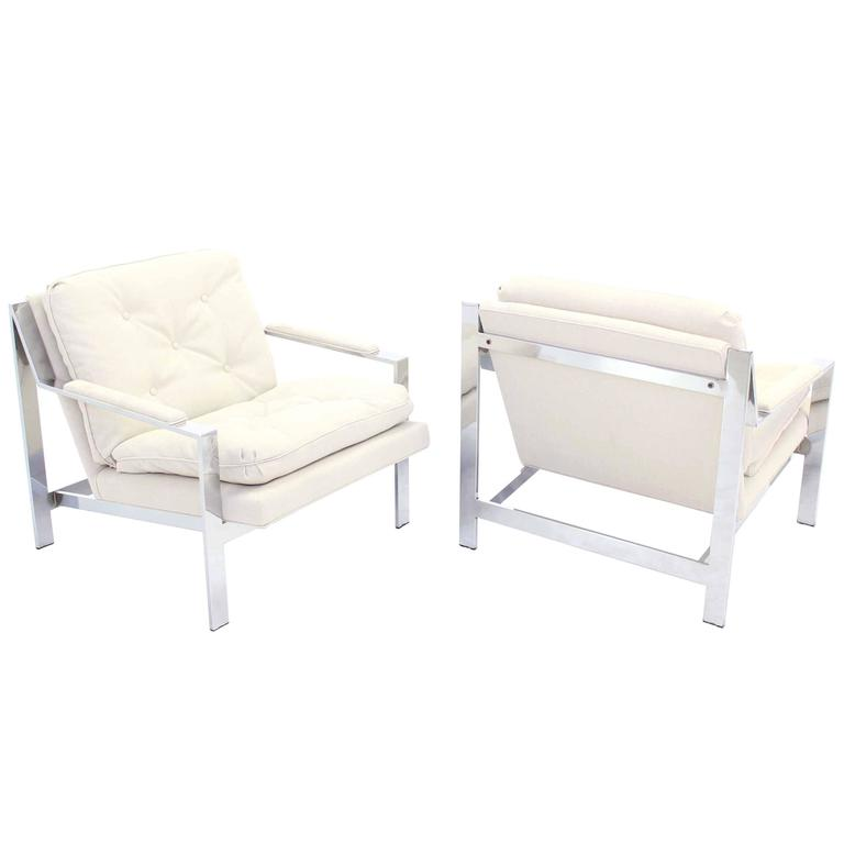 Pair of Chrome Lounge Chairs with New Upholstery