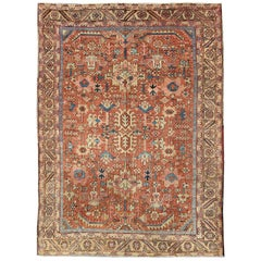 Antique All-Over Persian Heriz Rug in Faded Rust and Gold Colors