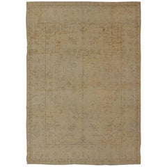 Antique Oushak Rug in Cream and Beige Colors