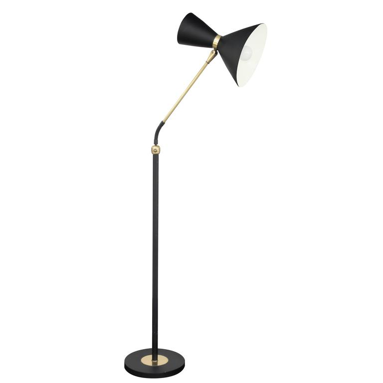 Chic Floor Lamp in Brass with Black Shade