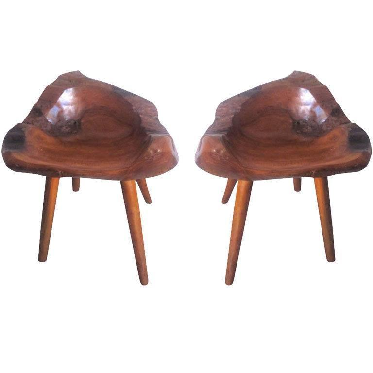Pair of Hand-Carved 'Modern Craftsman' Stools / Slipper Chairs 1