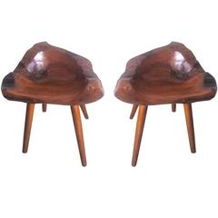 Pair of Hand-Carved Mid-Century 'Modern Craftsman' Stools / Slipper Chairs
