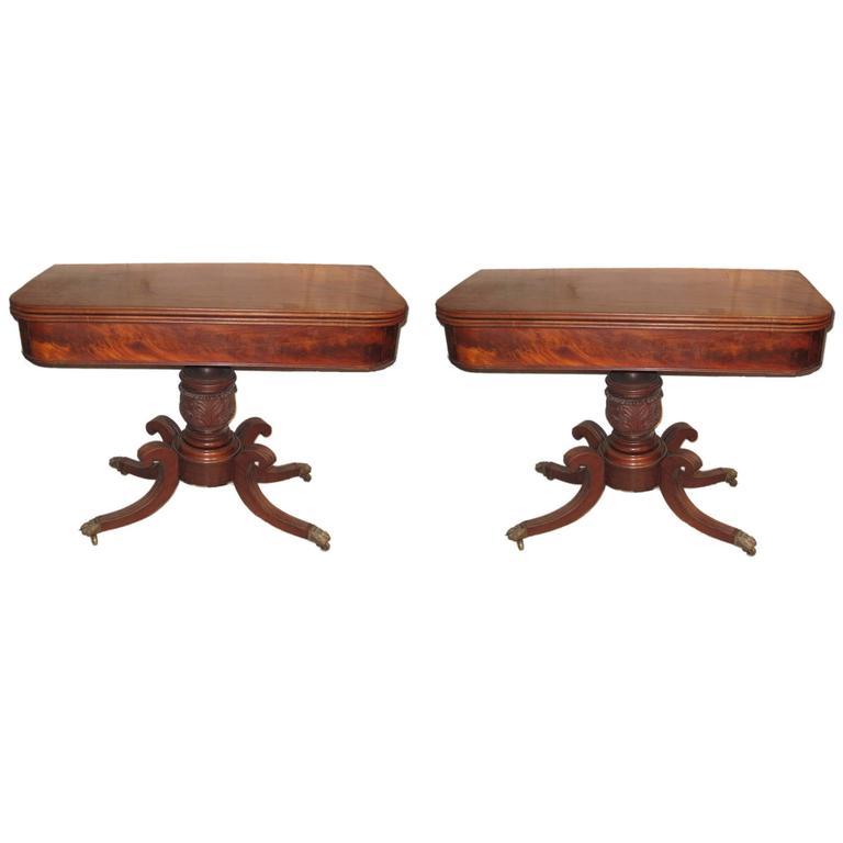 Pair of 19th Century American Classical Card Tables