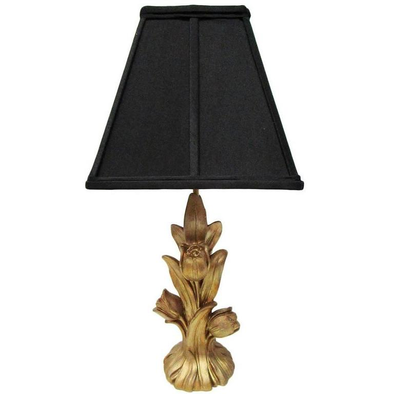 Floral Gold Lamp with Black Shade by Chapman