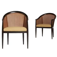 Cane Back Armchairs by Kipp Stewart for Directional
