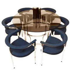 1970s Circular Table and Six Armchairs Dining Set