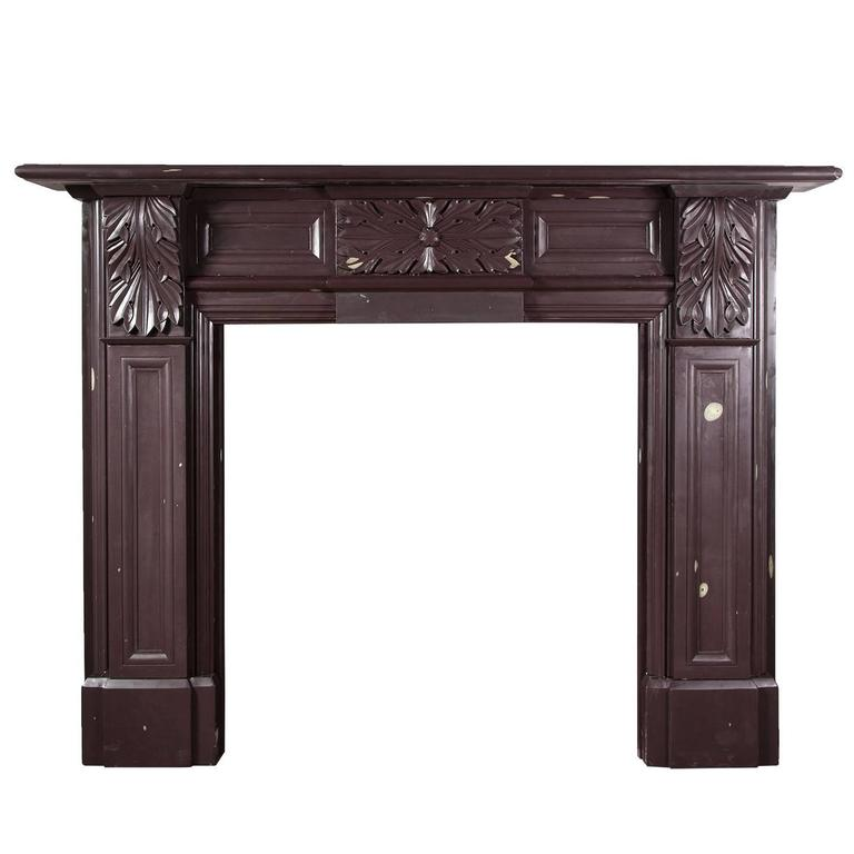 Carved Antique Welsh Heather Slate Fireplace