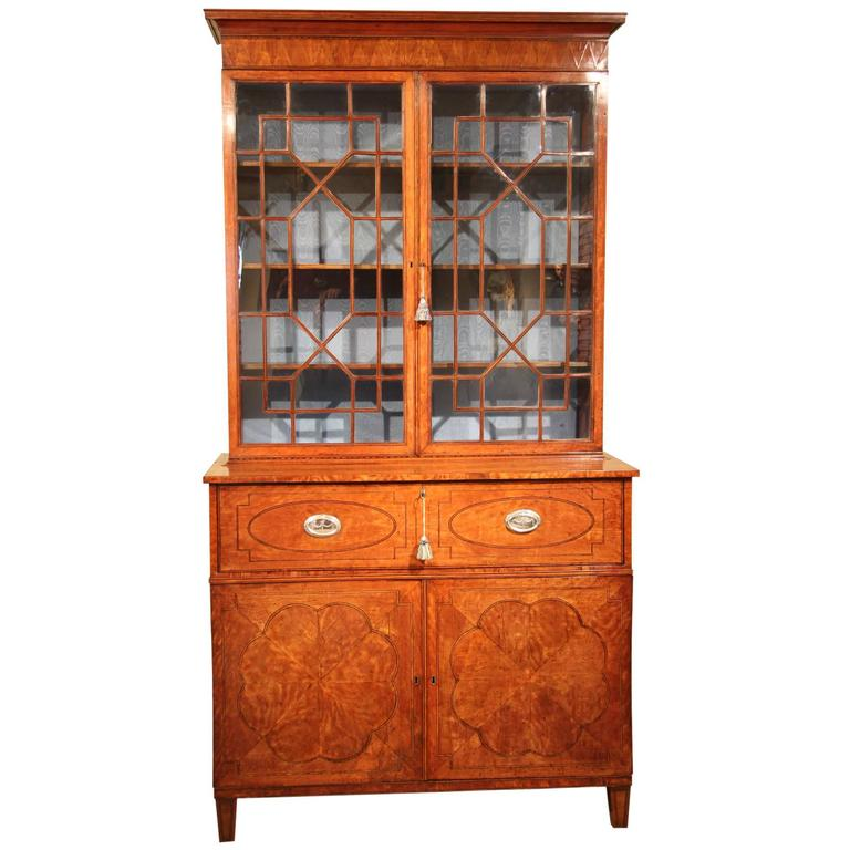Late 18th Century West-Indies Satinwood Secretaire Bookcase