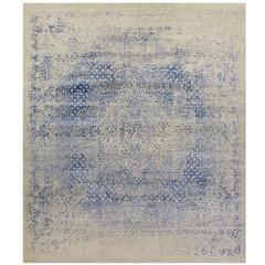 Contemporary Rug with Blue Silk Erased Design