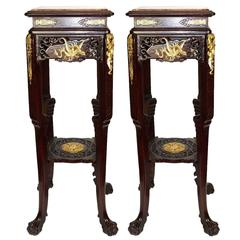 Pair of Japanned Marble-Top Square Pedestals for the Oriental Market