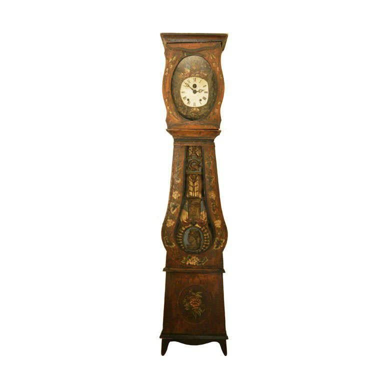 Mid 19thC. French Provincial Louis XV Style Morbier Case Clock For Sale