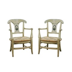 Pair of Mid 19hC.  Painted French Provincial Louis XV Style Chairs