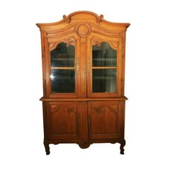 Early 19thC. French Provincial Pitch Pine Louis XV Style 4 Door Hutch