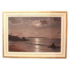 """Moonlight Waters"" Oil Painting by Roger de la Corbière"