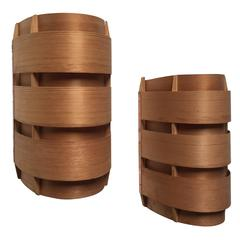 Hans-Agne Jakobsson Pair of Wood and Copper Wall Lamps Model Ellysett