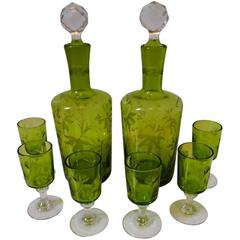 1900s St. Louis French Green Cut Crystal Liquor Set, Decanters Pair, Cordials