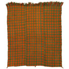Chequered Turkish Kilim in Orange and Green Colors