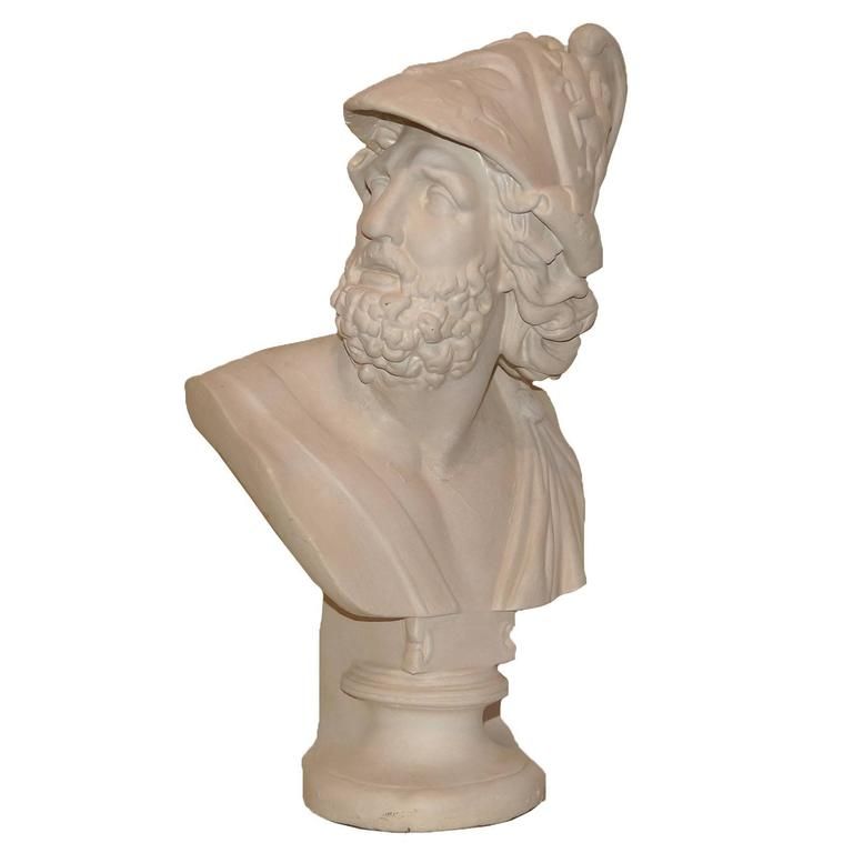Neoclassical Plaster Bust of a Roman Warrior
