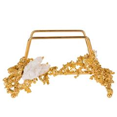 Luxe Letter Holder by Claude Boeltz in Gilded Bronze and Rock Crystal