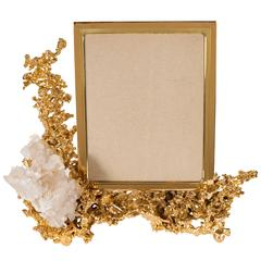 Exquisite Picture Frame by Claude Boeltz in Gilded Bronze and Rock Crystal