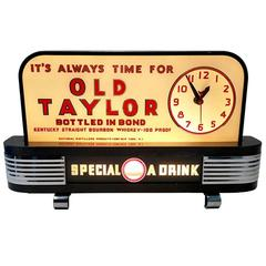 1930s Bond & Lillard Old Taylor Whiskey Bar Topper Clock and Light