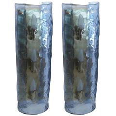 Large Pair of Blue Murano Glass Sconces, Italy, 1950s