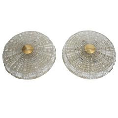 Pair of Orrefors Crystal Flush Mount Light Fixtures by Carl Fagerlund, 1960s