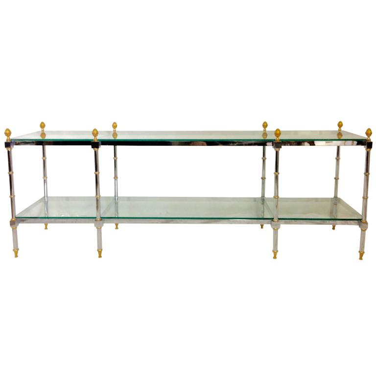 1970'S Maison Jansen Style Chrome and Glass Two-Tier Console Table
