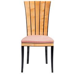 Side Chair, Eliel Saarinen Design 1929, Solid Birch, Horsehair-Fabric Upholstery