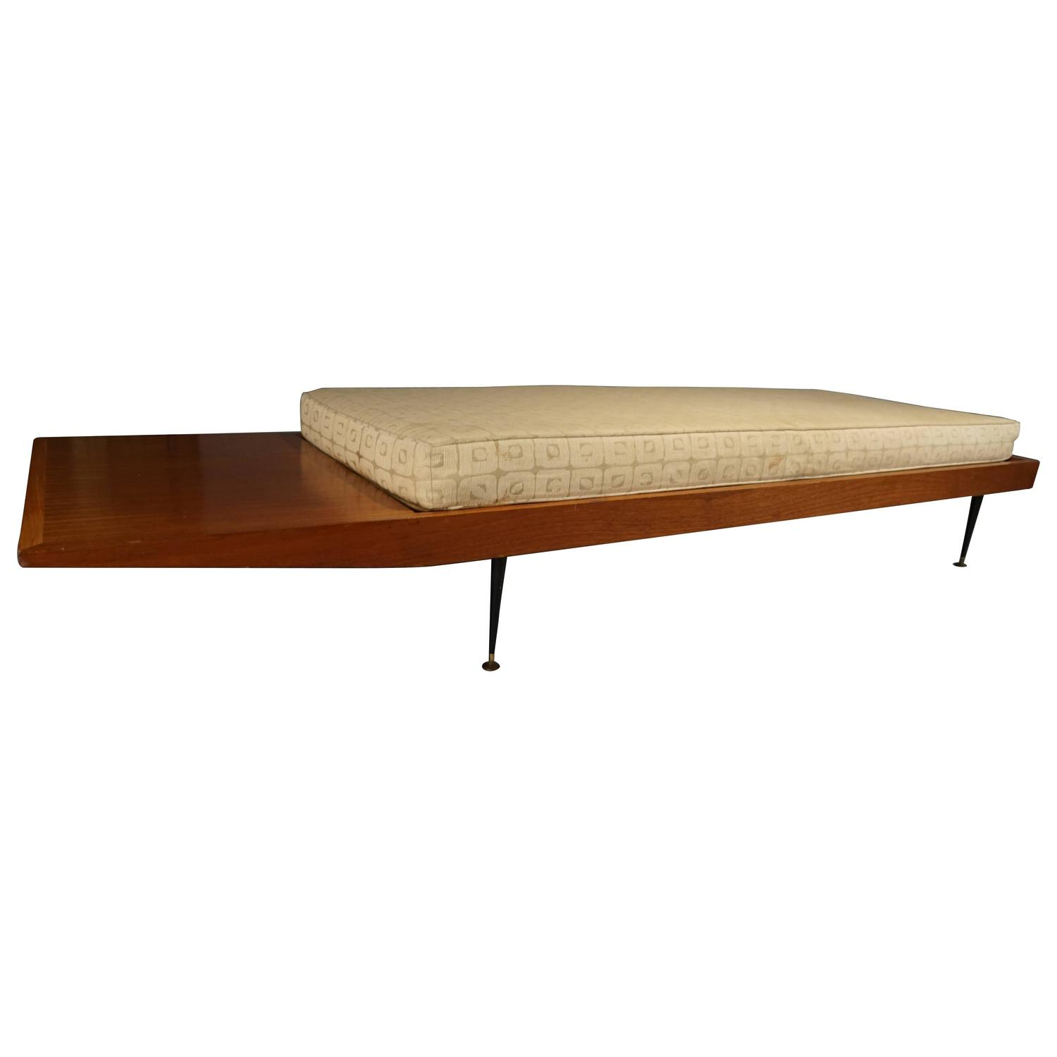 Mid Century Long Bench With Cushion At 1stdibs