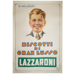 Large Poster of Young Man Who Enjoys Biscotti, circa 1920