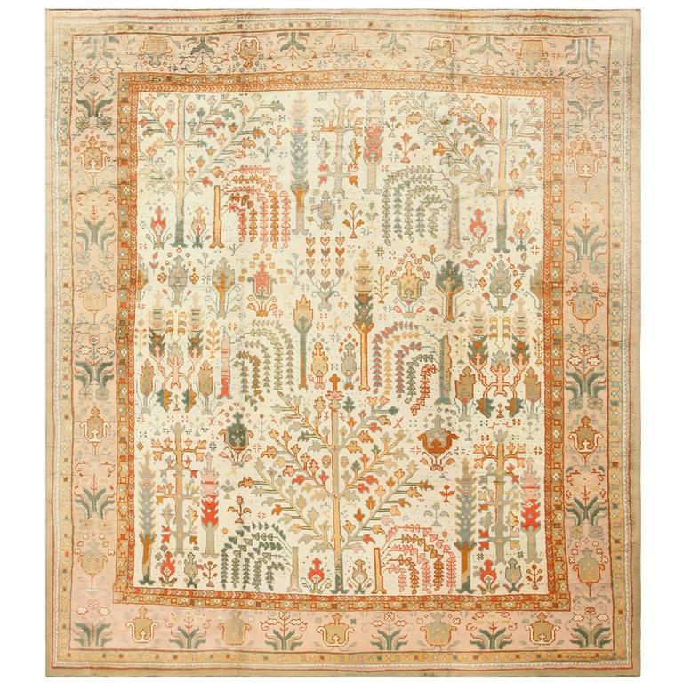 Beautiful Ivory Background Antique Turkish Oushak Carpet