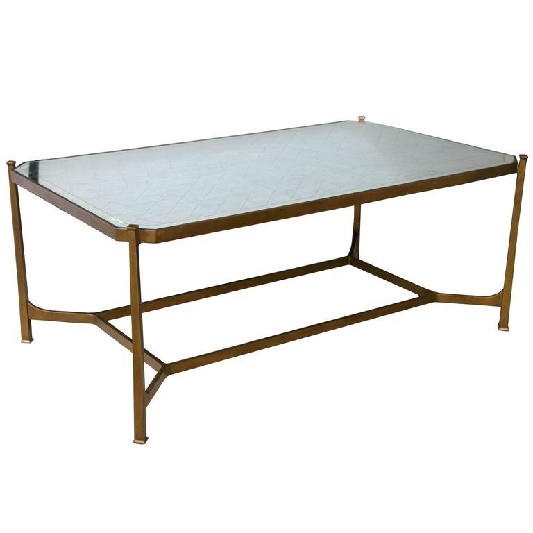 Jonathan Charles Distressed Mirror Top Coffee Table At 1stdibs