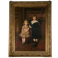 Palatial Oil on Canvas of a Portrait of Siblings Signed J. Peellaert