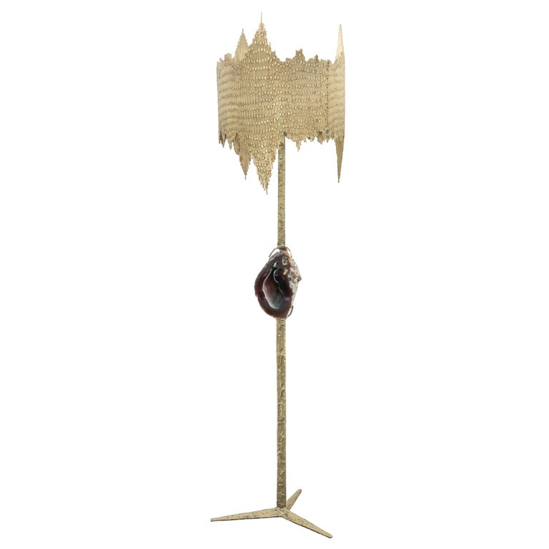 Studio Made Floor Lamp with Mounted Agate by Jacques Duval-Brasseur (signed) For Sale