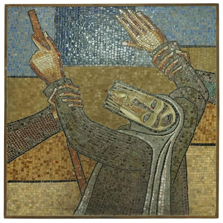 Unusual Judaica Venetian Mosaic Plaque of Moses For Sale at 1stdibs