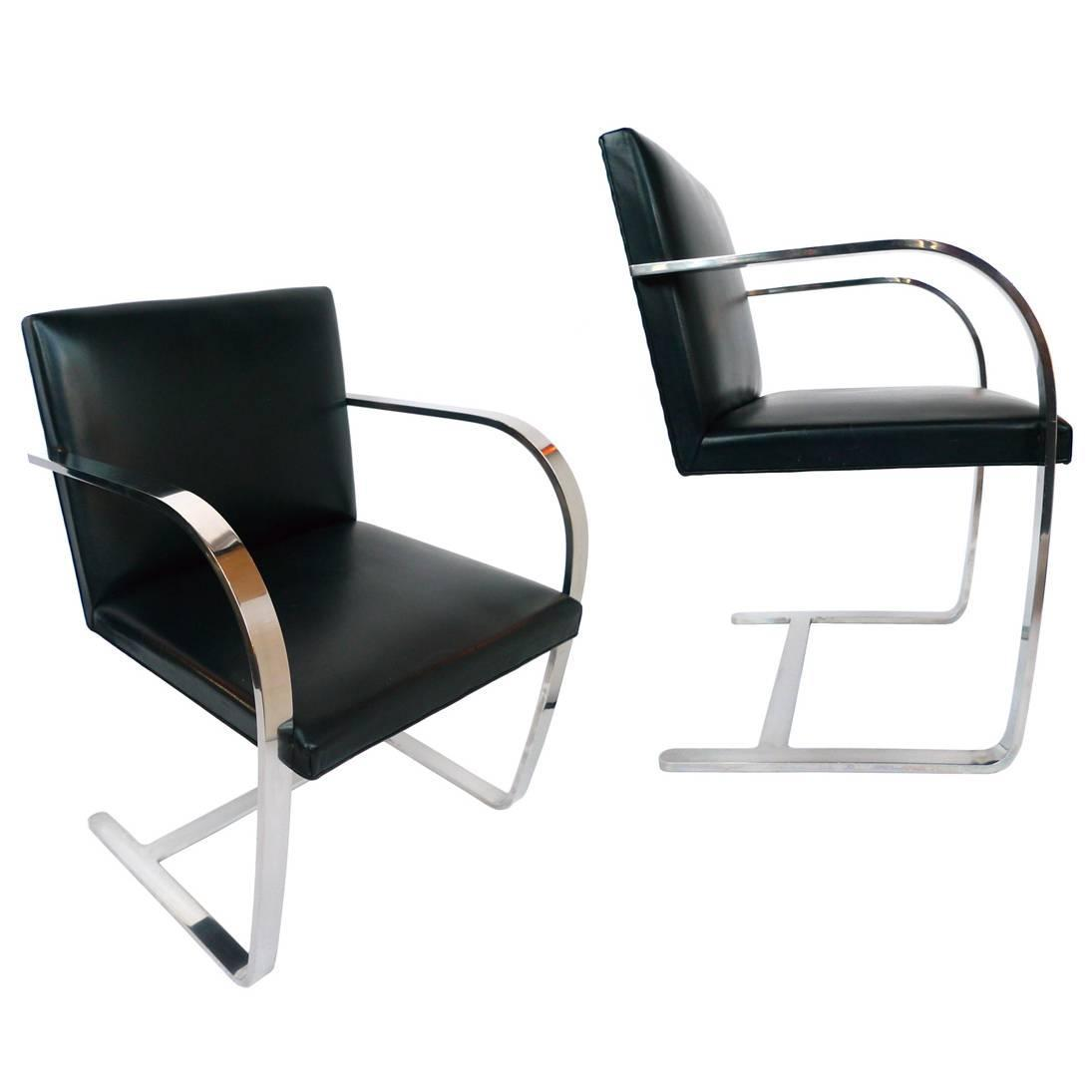 ludwig mies van der rohe brno chairs by knoll a pair for. Black Bedroom Furniture Sets. Home Design Ideas