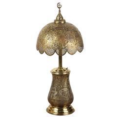 Moorish Revival Brass Syrian Table Lamp